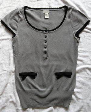 Top Grau Schwarz mit kurzen Ärmeln H&M
