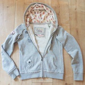 TOP GUN ® WOMEN'S ZIP UP Vintage Patch  Hoodie American US NY Sweatjacke Pin Up Girls Military Style Grau S 36
