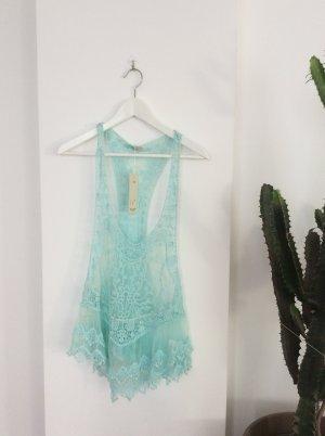 Top turquoise-bleu clair coton