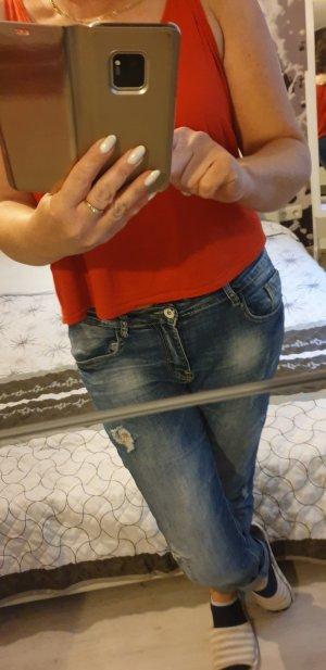 Pantalon cigarette bleu acier-bleuet