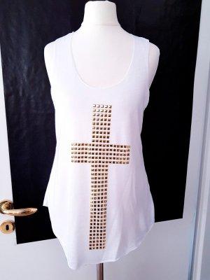 Top Kreuz weiss gold XS S