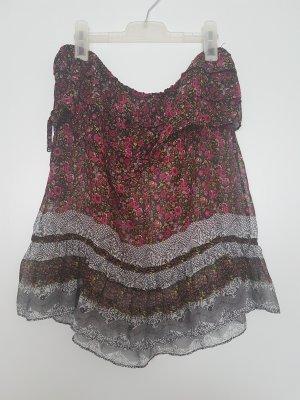 Haut à fines bretelles gris-rouge framboise