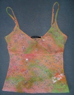 Tally Weijl Haut en dentelle orange-vert prairie polyester