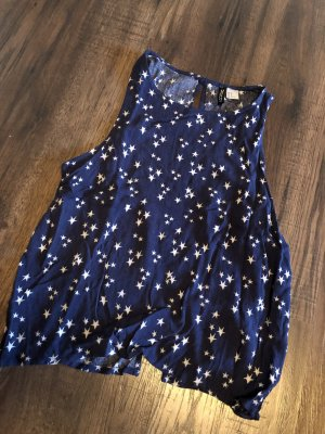 H&M Rugloze top wit-donkerblauw