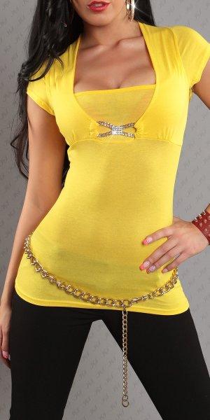 Top mit Schnalle und Strass vorne, gelb Trägershirts Bluse Pullover spitze Neu