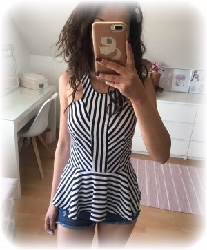 Top mit Schösschen, weiß schwarz, gestreift, stripes, xs - s
