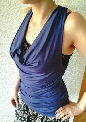 Rugloze top blauw-donkerblauw
