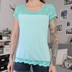 Haut en dentelle bleu clair-turquoise coton