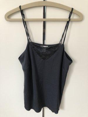 H&M Top de encaje gris antracita-azul oscuro
