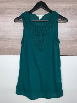 H&M Conscious Collection Lace Top dark green