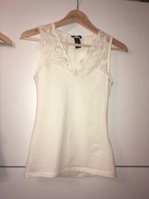 H&M Top de encaje crema-blanco