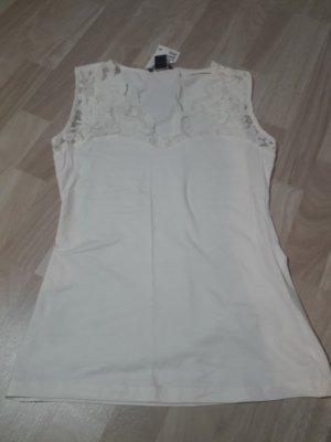 H&M Top di merletto bianco-crema