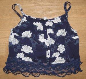 Top mit Spitze, Tally Weijl,blau mit weißem Blütenprint,, Gr. 34