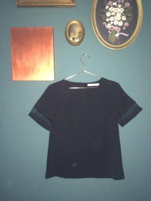 Top mit transparentem Ärmel | schwarz