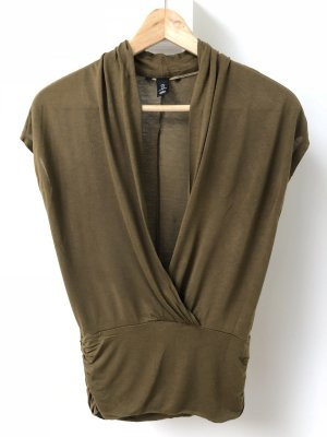H&M Cowl-Neck Shirt olive green