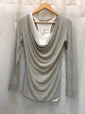 SusyMix Cowl-Neck Shirt camel-natural white