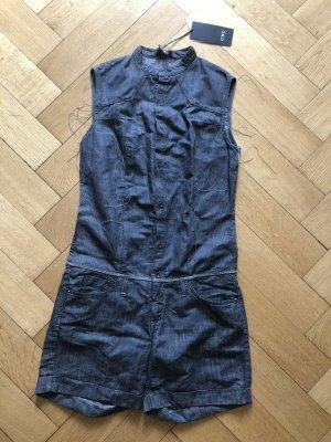 Top-modischer Jumpsuit, kurz, Jeans-Leinen, Neupreis 257€