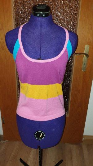 Top lavorato a maglia multicolore