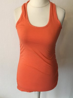 Top Oberteil Basic orange sexy Sommer mit Raffung