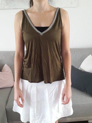 Top / Oberteil khakigrün mit silbernem Kragen Gr. XS