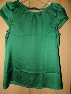 Top Oberteil Shirt Bluse Satin Grün Gr. 34 XS Zara Basic Rüschen