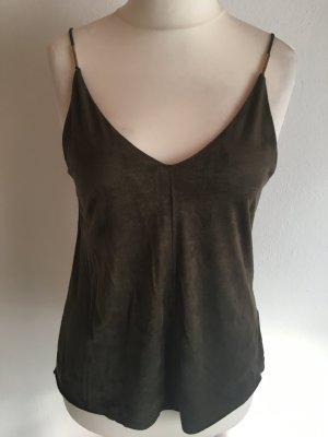 Top Oberteil Shirt Camisole Wildleder khaki Gr. 38 NEU mit Etikett