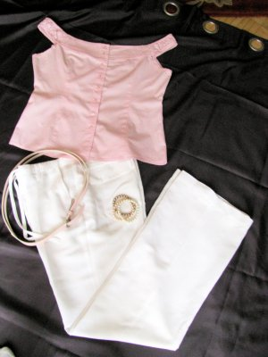Blusa alla Carmen rosa chiaro-bianco Cotone