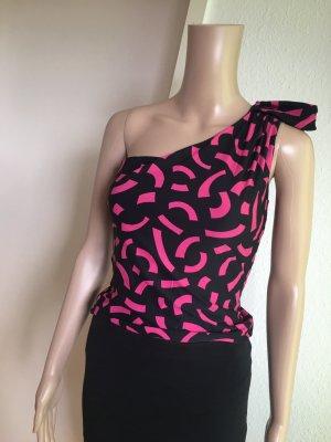 H&M One Shoulder Top black-pink
