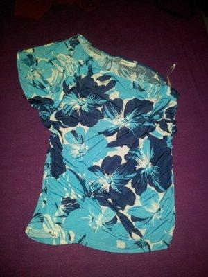 Top Oneshoulder Blumen blau türkis weiß Gr. 44 NEU
