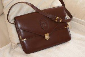 Top! Original Cartier Leder Tasche rot/braun Umhängetasche Luxus Handtasche