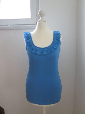 Top Rüschen blau Shirt H&M S Volant