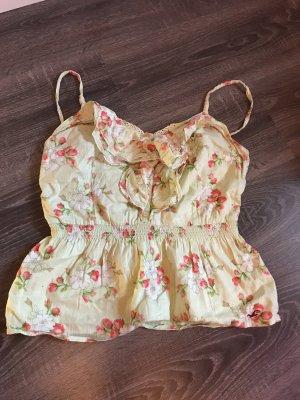 Top rüschen spitze Shirt Erdbeeren Blumen Muster Print hellgrün Sommer Hollister