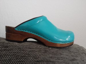 Mules light blue leather
