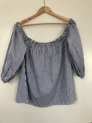 Off the shoulder top wit-donkerblauw