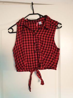 H&M Wraparound Shirt black-red