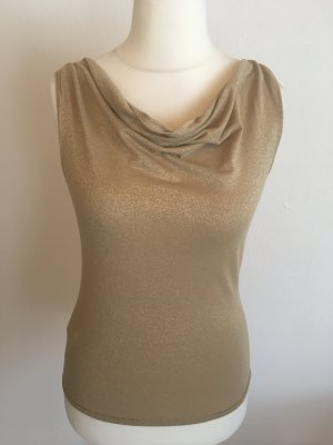 Top Shirt Bluse gold Glitzer sexy Gr. S Wasserfall