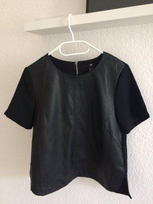 Top Shirt Bluse Kunstleder schwarz