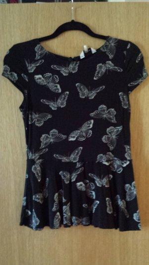 Top Shirt mit Schößchen Schmetterlingsprint