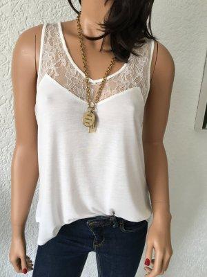 H&M Top de encaje blanco-blanco puro