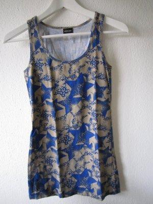 Top Shirt mit Sternen Print Blau Gr. S 36