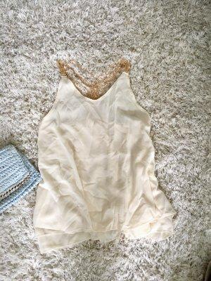 Top Shirt Oberteil Bluse creme cremeweiß weiß neu S gold Sommer Strand Urlaub