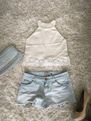 Top Shirt Oberteil Bluse neckholder creme cremeweiß neu s Party Strand Sommer