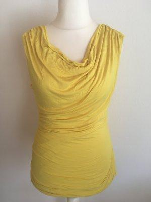 Top Shirt Oberteil Longshirt gelb Wasserfall mit Raffungen Gr. M