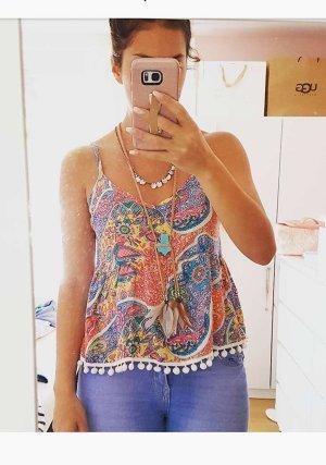 Top Shirt Pompom Pom Pom bunt hippie boho blogger hipster S Paisley