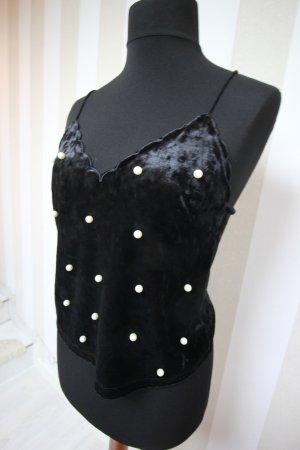 Top Shirt Samt Velvet mit Perlen Details