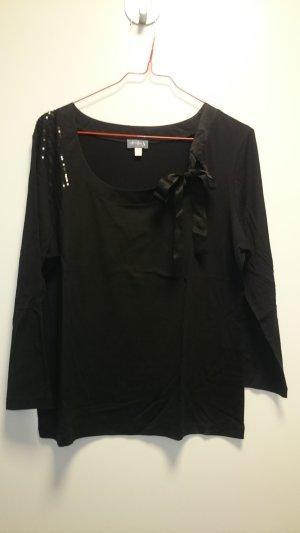 Top Shirt schwarz mit Schleife und Strasssteinen von Un Deux Trois Paris in gr. 44