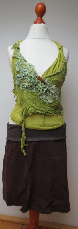 Crochet Top olive green-grass green cotton