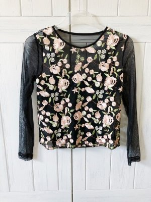 Top Shirt von New Look Pettite Gr. 36 schwarz Mesh Netz Embroided