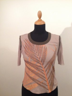 Top Shirt weich Luxus Designer Blatt orange taupe olive  Netz Sommer