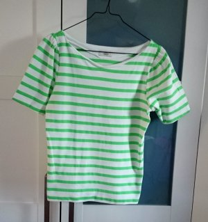 Top Shirt weiß neon grün gestreift von Mads Nørgaard, Gr. XS